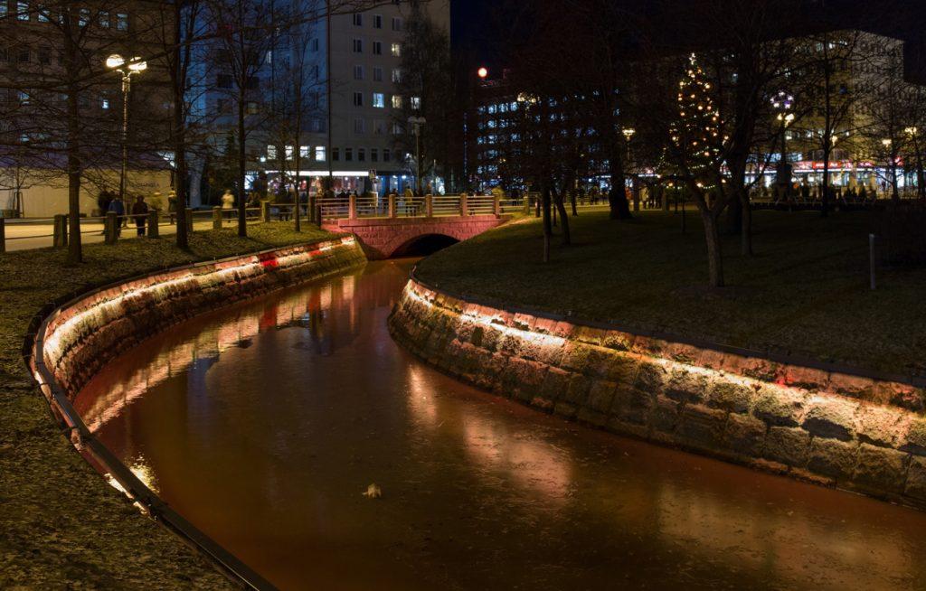 Glowing river Oulu